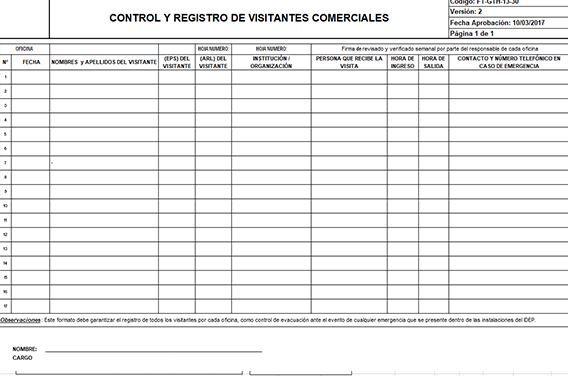 Plantilla control visitas comerciales en Excel 1