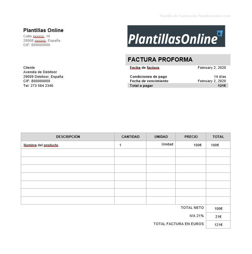 plantilla factura preformateada word