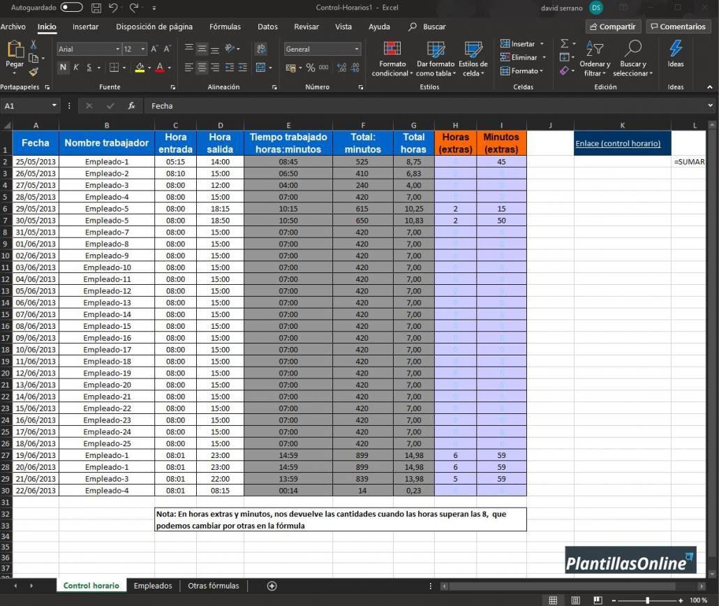 Excel control de horas trabajadas