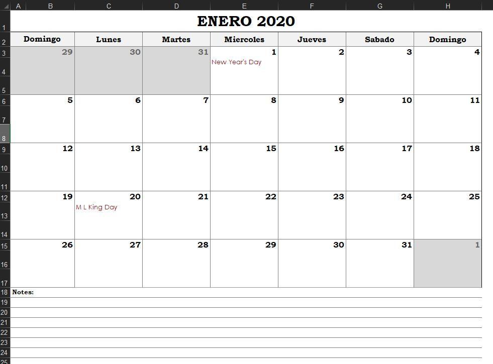 calendario excel 2020 gratis