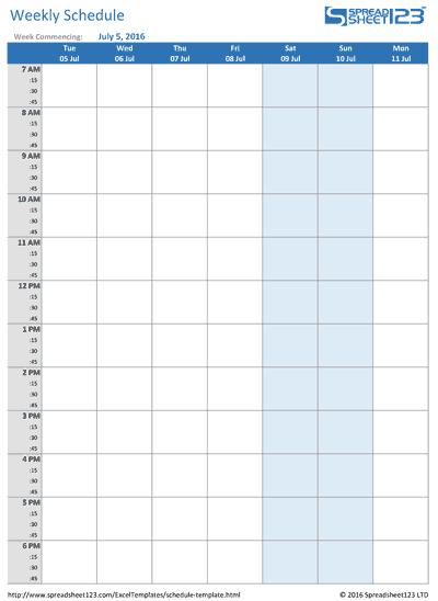 weekly schedule med
