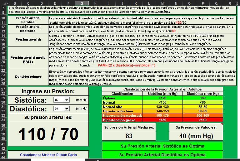 calculadora presion arterial excel