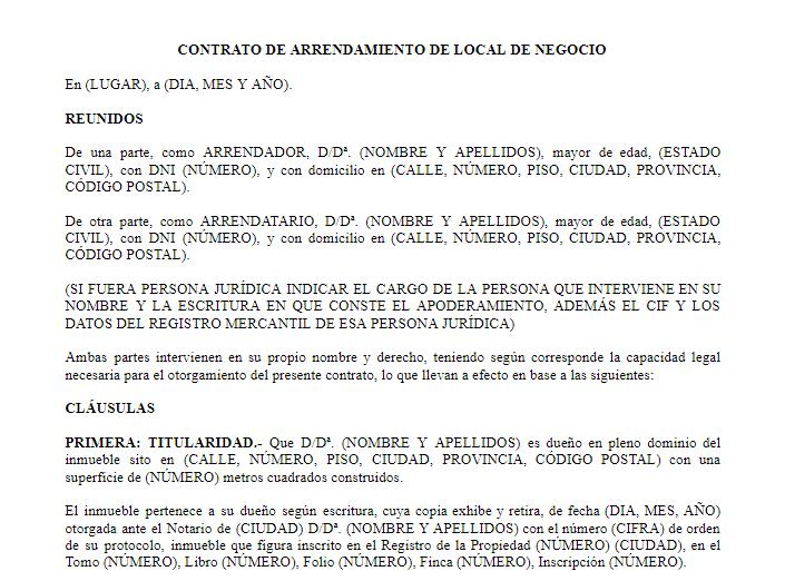 Plantilla Contrato local WORD
