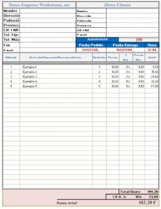 Descargar plantilla Excel albarán